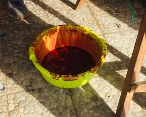 blood set aside to mix with the butifara.